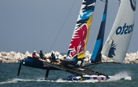 Red Bull Extreme Sailing Team racing on day 3 at Muscat